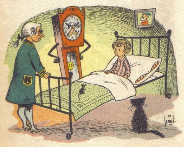 Een boze staande klok aan Leontietjes bed