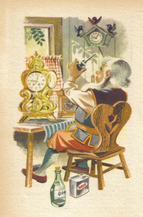 Kabouter Puntmuts repareert zijn klokken