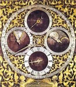 Wijzerplaat van de vroege staande klok van Anthonius Hoevenaer [Langdurig bruikleen van Museum Boerhaave, Leiden]